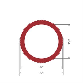 Siliconen slang rood DN= 23,5 BxH=30x30mm