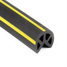 Zacht hoekprofiel rond met gele streep 1000x40mm